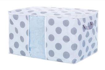 Clothes Blanket Storage Bag Organizer Foldable Zipper Box(Polka Dot,2Pcs)