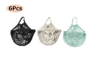 Cotton Mesh Net Shopping Bag Reusable Tote Produce Bag Fruit Grocery Storage Handbag(6Pcs)