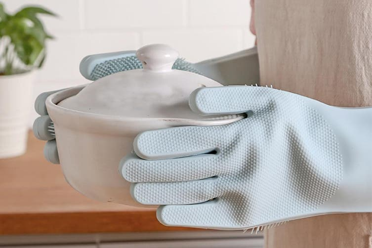 Silicone Washing Cleaning Gloves Kitchen Household Brush Gloves Heat Resistant Dishwashing Scrubber Gloves(2 Packs)
