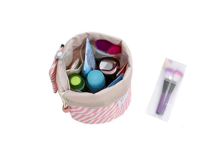Cylinder Cosmetic Bag Travel Organiser Drawstring Makeup Bag with Removable Mini Bag and PVC Bag