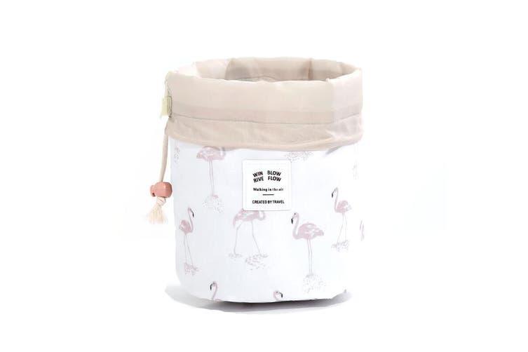 Cylinder Cosmetic Bag Drawstring Travel Organiser Makeup Bag with Removable Mini Bag and PVC Bag