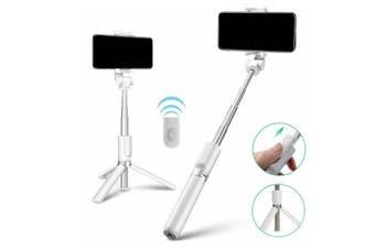 Bluetooth Selfie Stick Tripod with Wireless Remote Shutter(White)