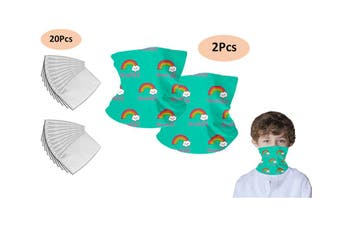 Kids Face Cover Cycling Mask Filters PM2.5 Bulti-in Filters Reusable Face Neck Mask(2Pcs Green Face Cover,20Pcs Filters)