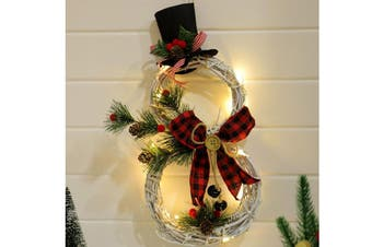 Christmas Snowman Wreath Artificial Wreath Pendant Led Light Door Window Wall Hanging Ornament Decoration Rattan with Red Berries, Led Fairy Lights for Xmas Decor, Party, Gift(Style 1)