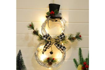 Christmas Snowman Wreath Artificial Wreath Pendant Led Light Door Window Wall Hanging Ornament Decoration Rattan with Red Berries, Led Fairy Lights for Xmas Decor, Party, Gift(Style 2)
