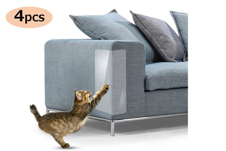 4Pcs Cat Sofa Scratch Guard Shield Protector Self-Adhesive Furniture Walls Pet Couch Protector(Large)