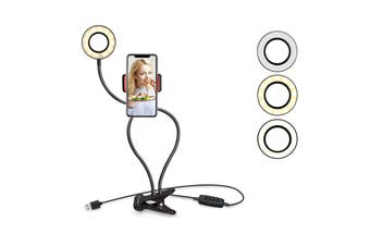 Clip On LED Selfie Ring Light with Phone Stand Holder For Live Stream and Makeup(Black)