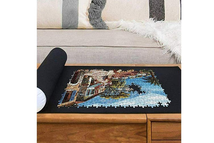 Jigsaw Puzzle Roll Up Mat Puzzle Storage Mat with Magic Strap Inflatable Stick Storage Bag(Black,2Set)