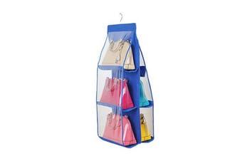 Hanging Storage Bags 6 Pockets Organizer Closet Rack Hanger Blue