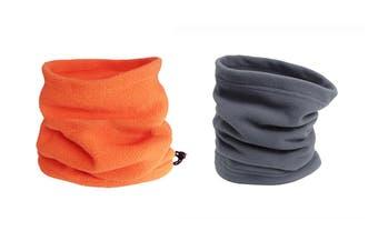 Winter Fleece Snood Neck Warmer Ski Beanie Hat, Grey Orange(2Pcs )