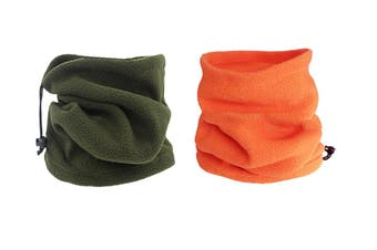 Winter Fleece Snood Neck Warmer Ski Beanie Hat, Army green Orange(2Pcs )