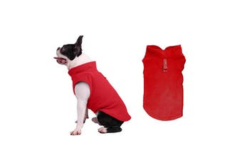 Winter Dog Coat Jumper Vest Cloth Fleece with Leash Ring(Red)
