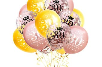15Pcs 30 Years Old Balloons Birthday Party Decoration