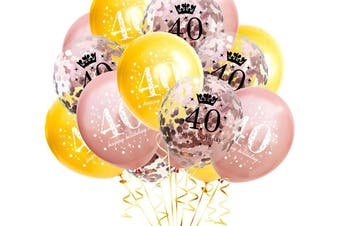 15Pcs 40 Years Old Balloons Birthday Party Decoration