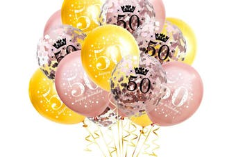 15Pcs 50 Years Old Balloons Birthday Party Decoration