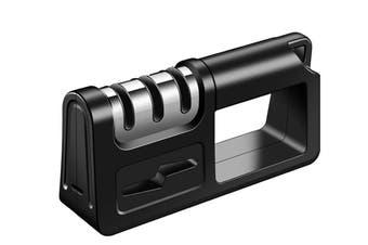 Kitchen Knife Sharpener 3 Stage Tungsten Diamond Ceramic Knife Sharpener Handheld Scissor Sharpening Tool(Black)
