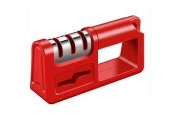 Kitchen Knife Sharpener 3 Stage Tungsten Diamond Ceramic Knife Sharpener Handheld Scissor Sharpening Tool(Red)