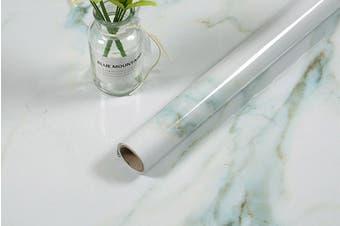 5-Meter Marble Wallpaper Film Furniture Wrap Sticker White-green