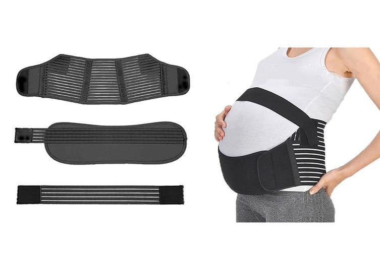 Pregnancy Support Belt 3Pcs Maternity Postpartum Band Baby Belly Belts(Black,L)