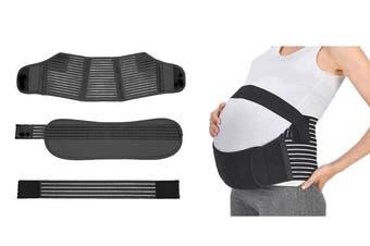 Pregnancy Support Belt 3Pcs Maternity Postpartum Band Baby Belly Belts(Black,M)