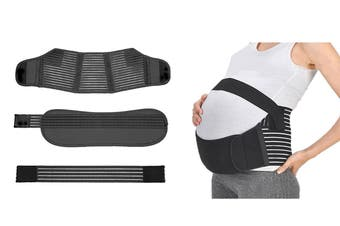 Pregnancy Support Belt 3Pcs Maternity Postpartum Band Baby Belly Belts(Black,XL)