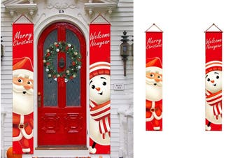 Christmas Decorations Porch Signs Door Hanging Banners Home Porch Wall (Santa & Smowman)