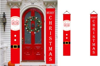 Christmas Decorations Porch Signs Door Hanging Banners Home Porch Wall (Santa & Words)