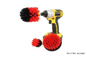 3Pcs Power Scrubber Cleaning Brushes Set Red(Drill Not Included)