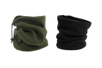 Winter Fleece Snood Neck Warmer Ski Beanie Hat, Black Army green(2Pcs )