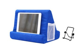 Pillow Tablet Stand Multi-Angle Reading Holder with Mesh Bag Handle(Blue)