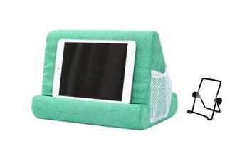 Pillow Tablet Stand Multi-Angle Reading Holder with Mesh Bag Handle(Green)