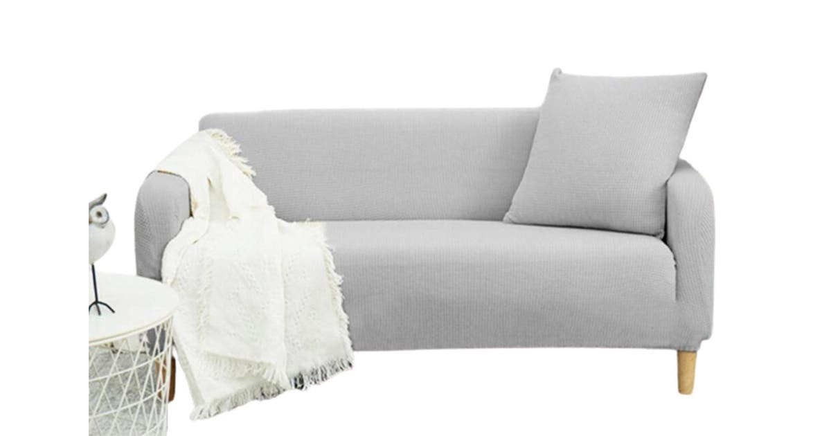 3 Seater Sofa Slipcover Stretch, Light Grey Sofa Slipcover