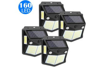 4X 160LED 4 Side Illumination Wall Light Outdoor Solar Powered Motion Sensor Light Wall Lamp