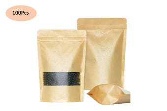 Kraft Paper Stand Up Pouch Zip Lock Food Bags Window Zipper Bags(100Pcs,16x26cm)