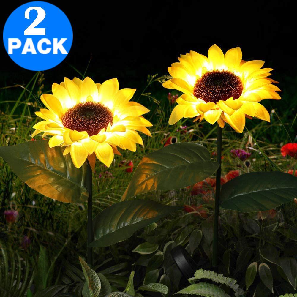 2 X 8led Solar Powered Garden Decorations Lights Simulation Sunflower Decoration Lamp For Backyard Garden Matt Blatt