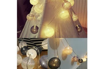 3M 20LED Colorful Cotton Ball LED String Christmas Wedding Party Fairy Lights(Gray)