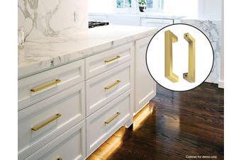 15x Brushed Brass Drawer Pulls Kitchen Cabinet Handles - Gold Finish 128mm