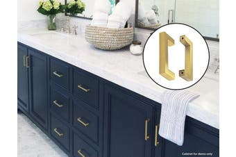 15x Brushed Brass Drawer Pulls Kitchen Cabinet Handles - Gold Finish 96mm