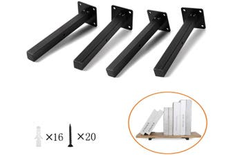 20cm Floating Shelf Brackets Industrial Metal Shelving Supports 4-Pack
