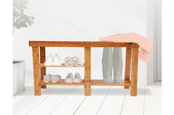 Bamboo Shoe Rack Wooden Bench Storage Organiser Cabinet Holder Stool