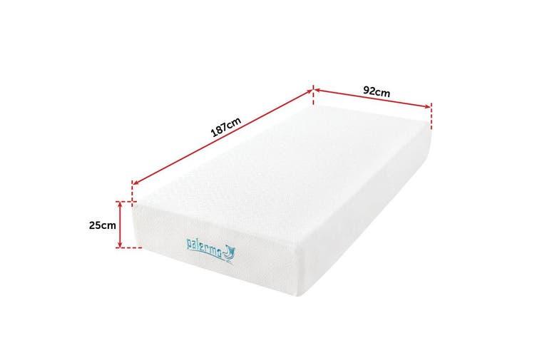 Palermo Single 25cm Gel Memory Foam Mattress - Dual-Layered - CertiPUR-US Certified