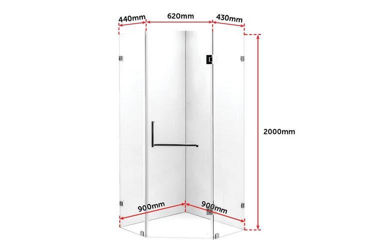 900 x 900mm Frameless 10mm Glass Shower Screen By Della Francesca