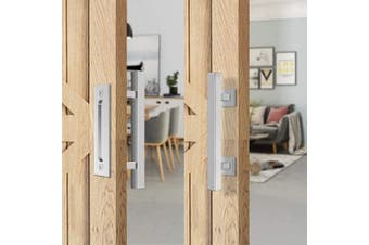 "12"" Square Pull and Flush Door Handle Set Stainless Steel Barn Door Hardware"