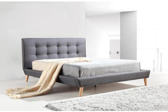 Double Linen Fabric Deluxe Bed Frame Grey