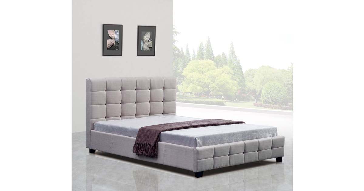 Linen Fabric Queen Deluxe Bed Frame, Instant Bed Frame Queen Size