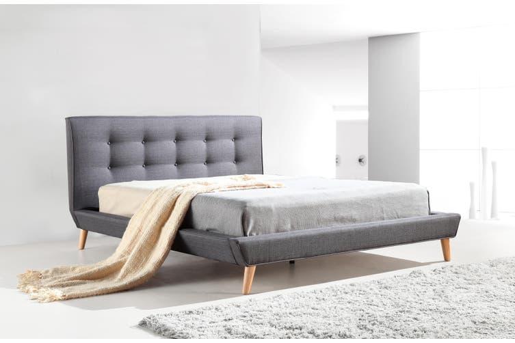 Queen Linen Fabric Deluxe Bed Frame, Instant Bed Frame Queen Size