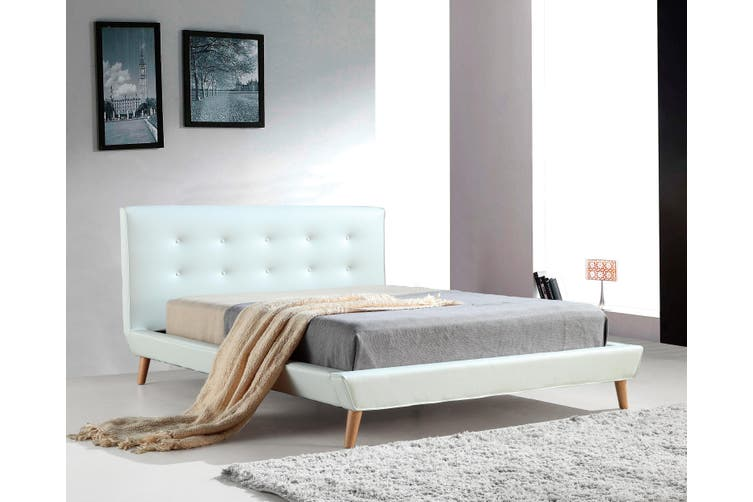 Queen Pu Leather Deluxe Bed Frame White, Instant Bed Frame Queen Size