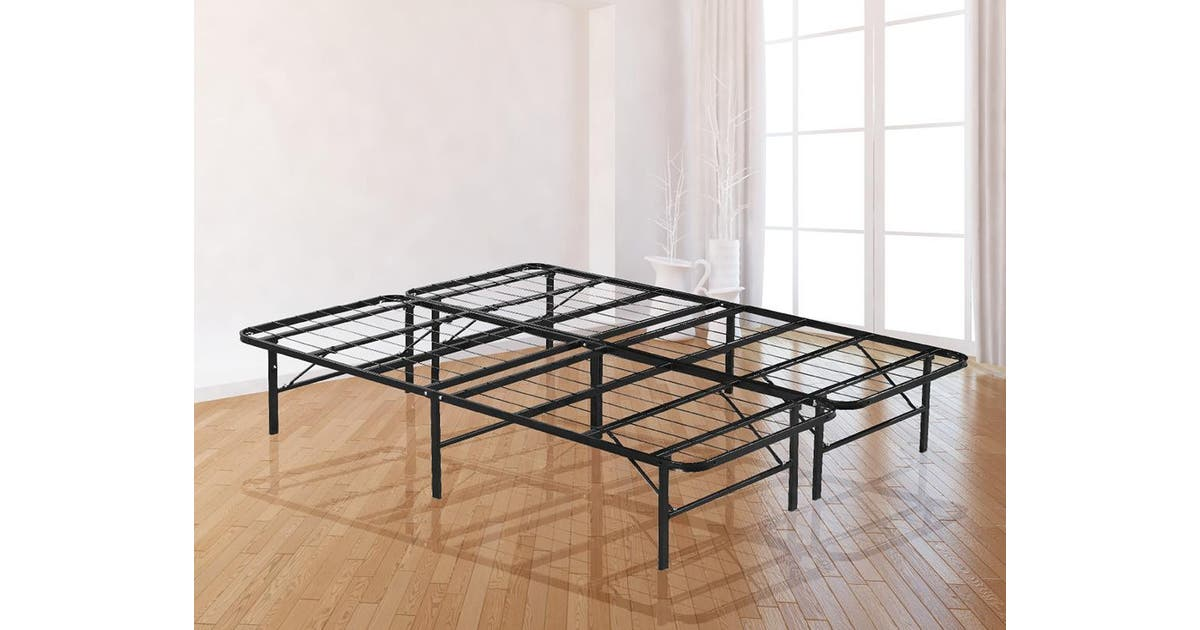 Queen Folding Metal Bed Frame Storage, Foldable Queen Bed Frame With Storage