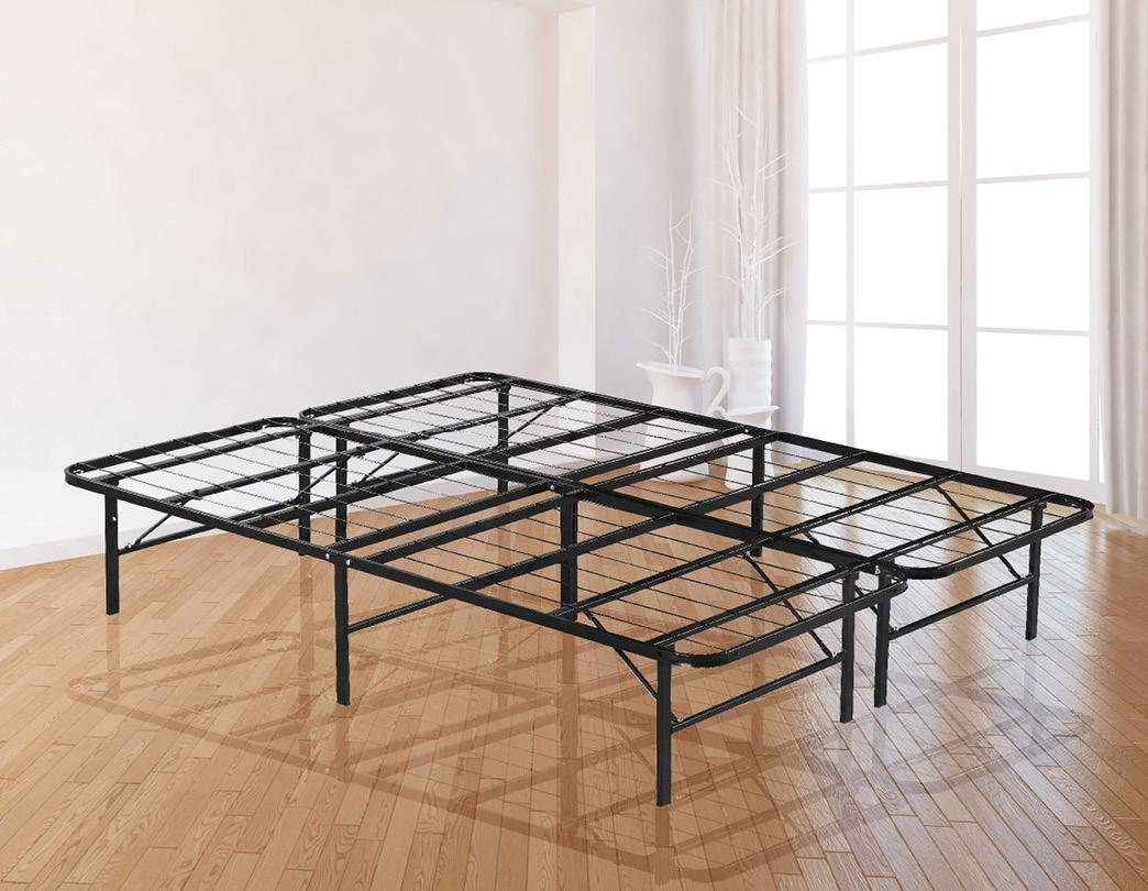 Picture of: Queen Folding Metal Bed Frame Storage Platform Mattress Base Matt Blatt