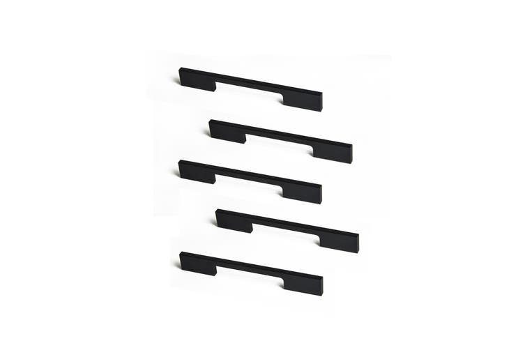 5 x 128mm Kitchen Handle Cabinet Cupboard Door Drawer Handles square Black furniture pulls